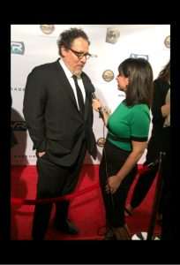 Zoe Hewitt interviewing Actor/Director Jon Favreau for Red Carpet Rundown
