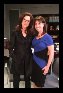 "Zoe Hewitt on the ""Major Crimes"" set with Mary McDonnell"