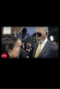 Zoe Hewitt interviewing Morgan Freeman for AMC